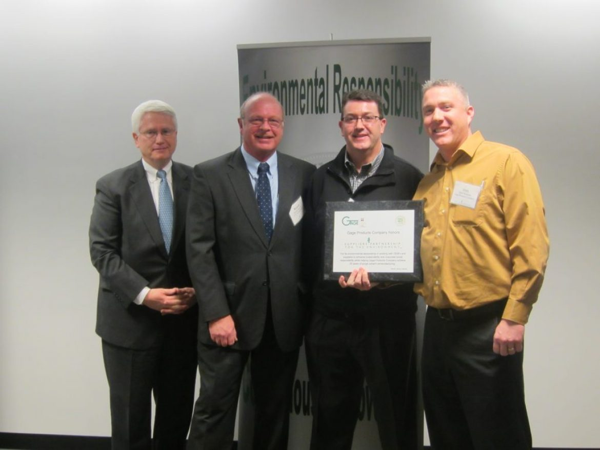 Gage Products Company Honors Suppliers Partnership for the Environment (SP)